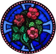 Distinct Designs logo with roses and cross