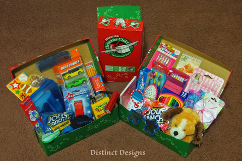 Distinct Design picture of filled Operation Christmas Child boxes