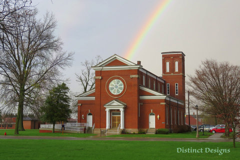 Distinct Design picture of Main Post Chapel with rainbow