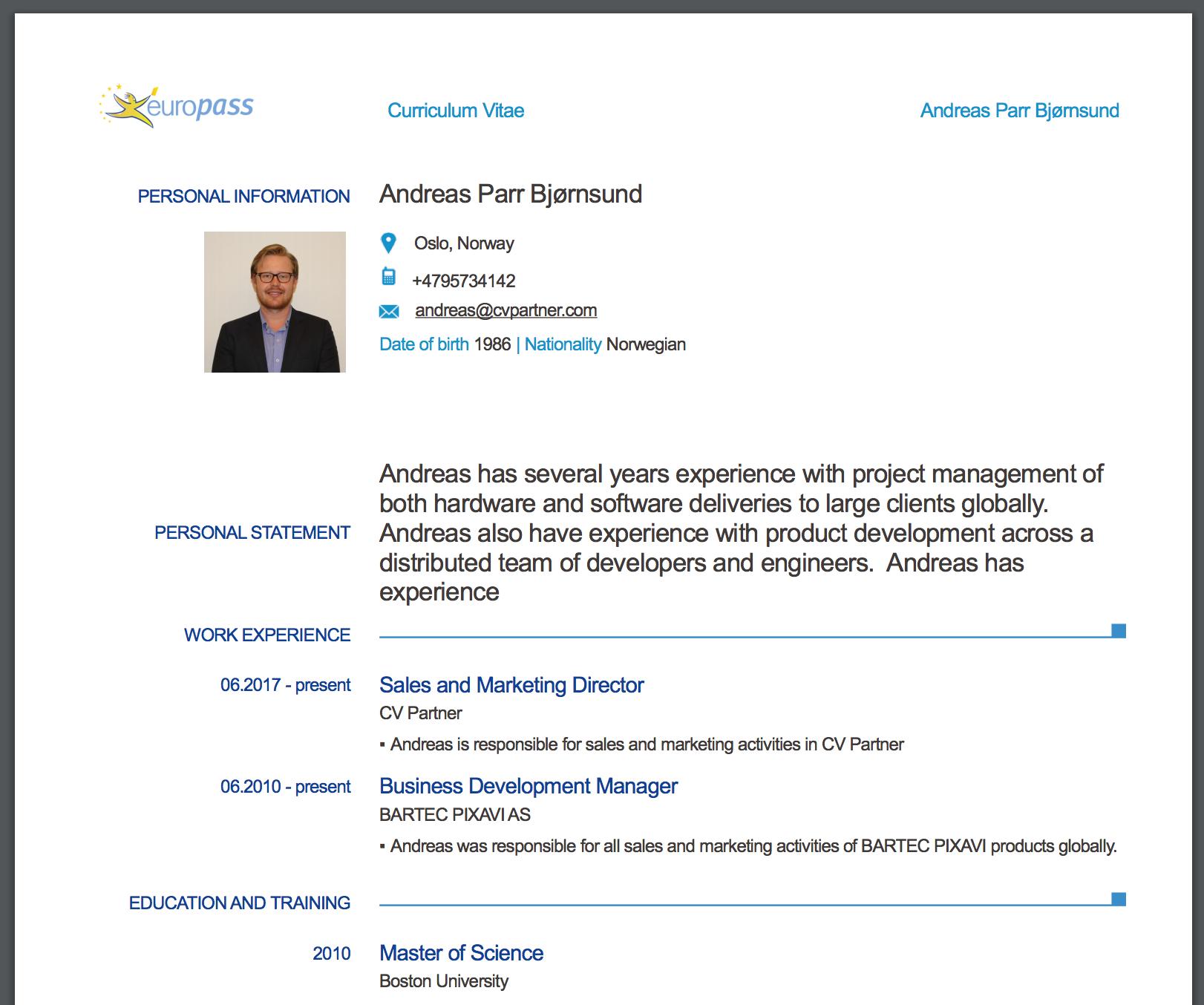 Resume Format Model Cv Europass blogspotcom - induced.info