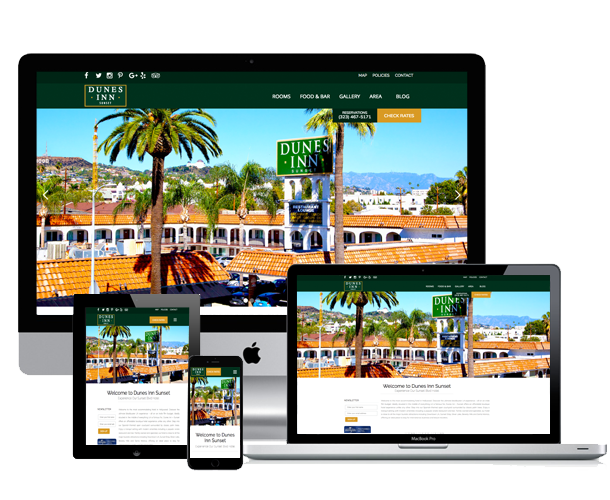 dunes inn sunset hotel website across device
