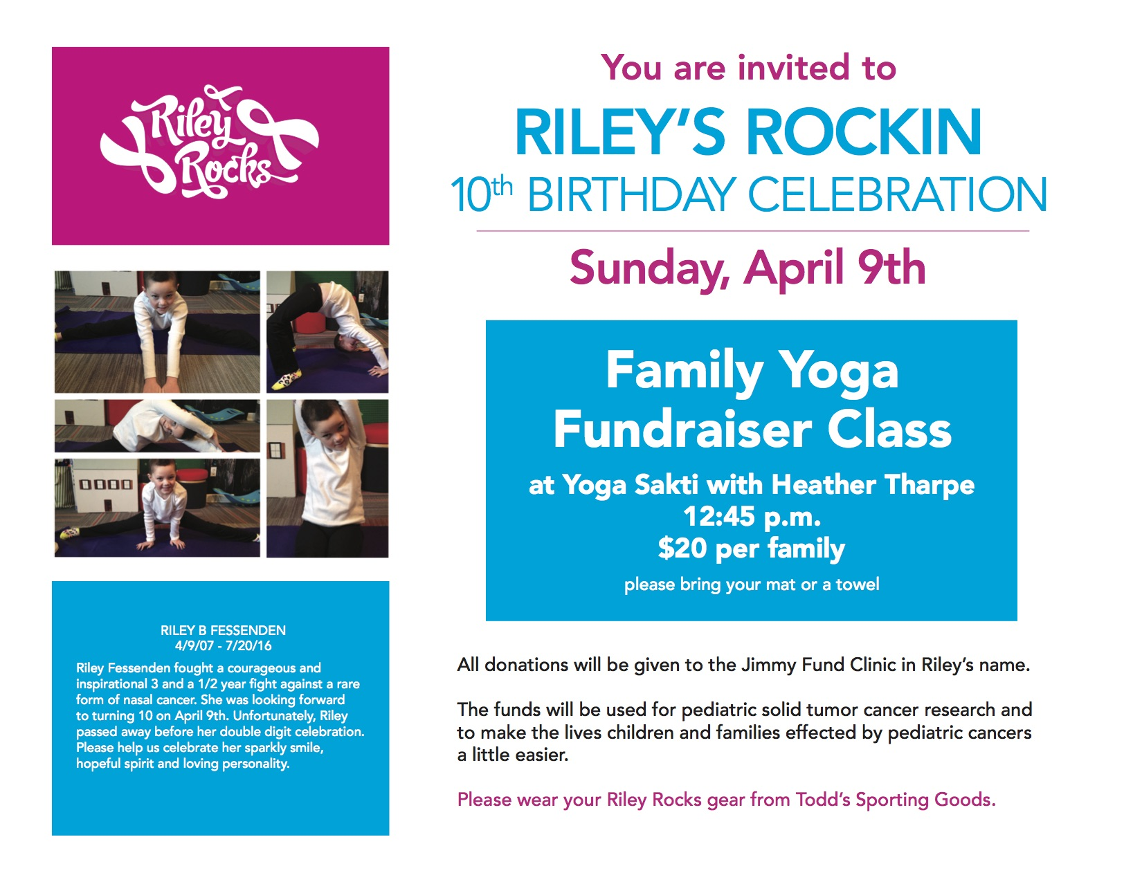 Yogasakti Is Honored To Host A Family Yoga Benefit For Riley Fessenden Celebrate What Would Have Been Her Daughters 10th Birthday On Sunday April 9th