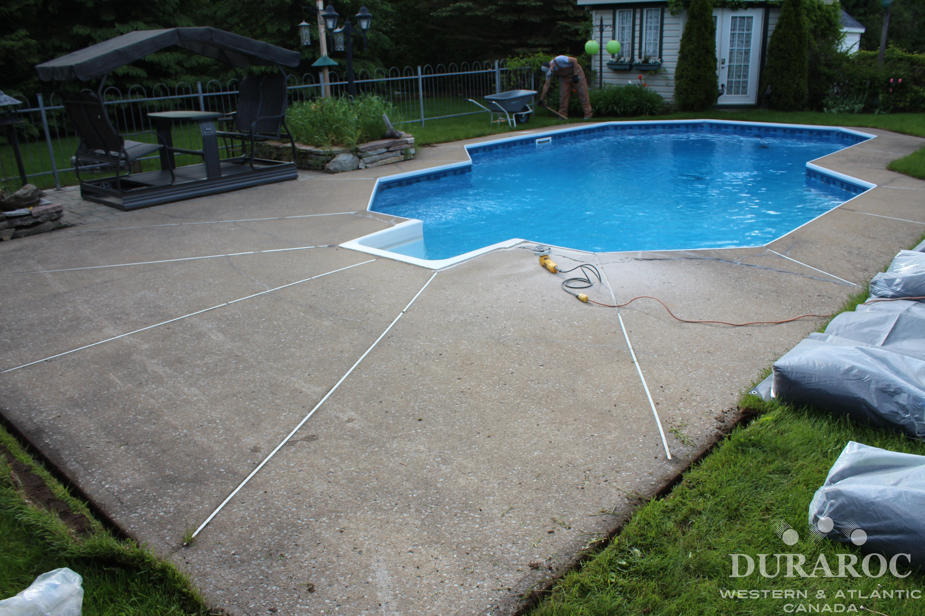 Concrete pool borders damaged