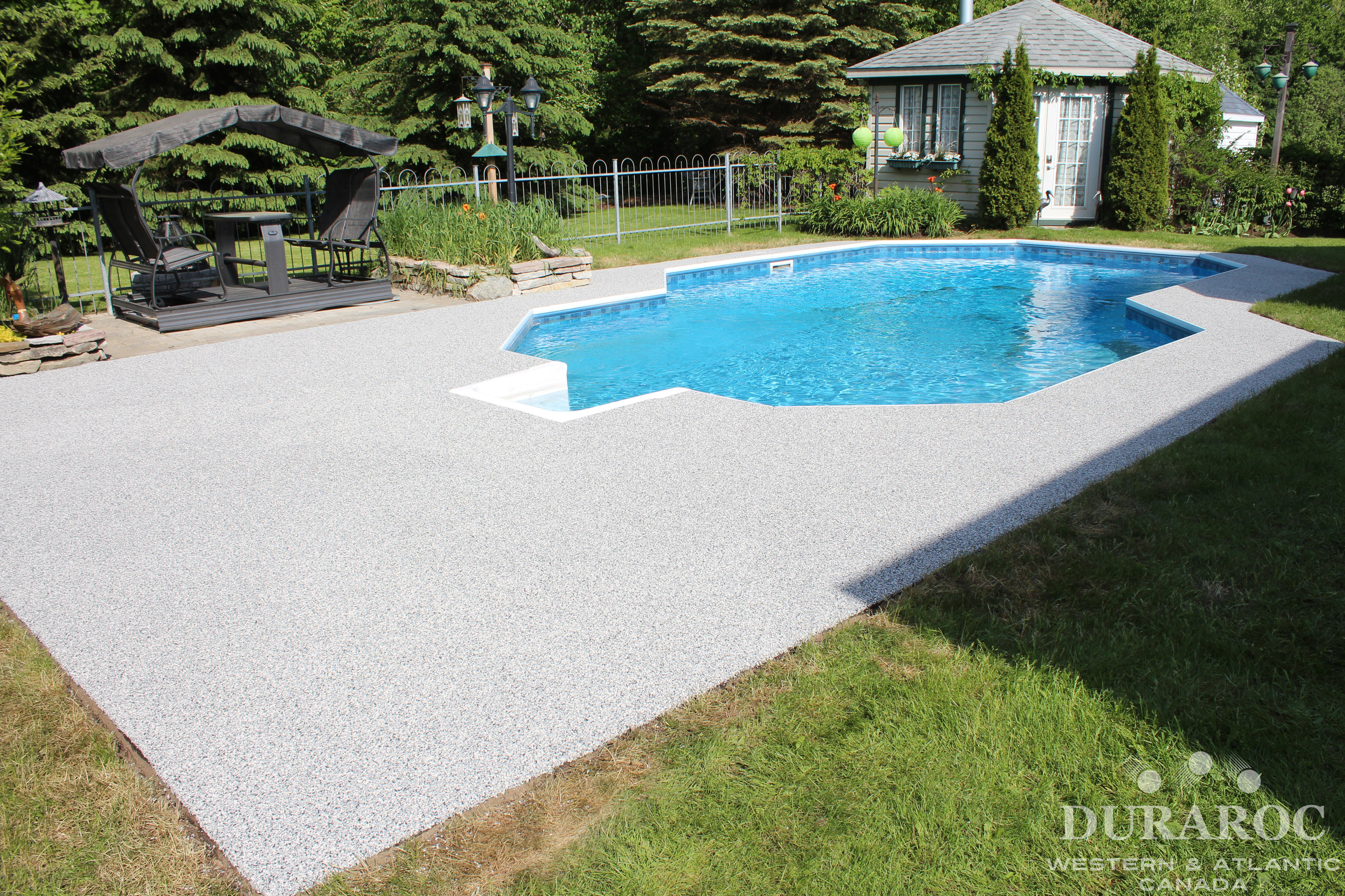 Concrete pool borders repaired rubber
