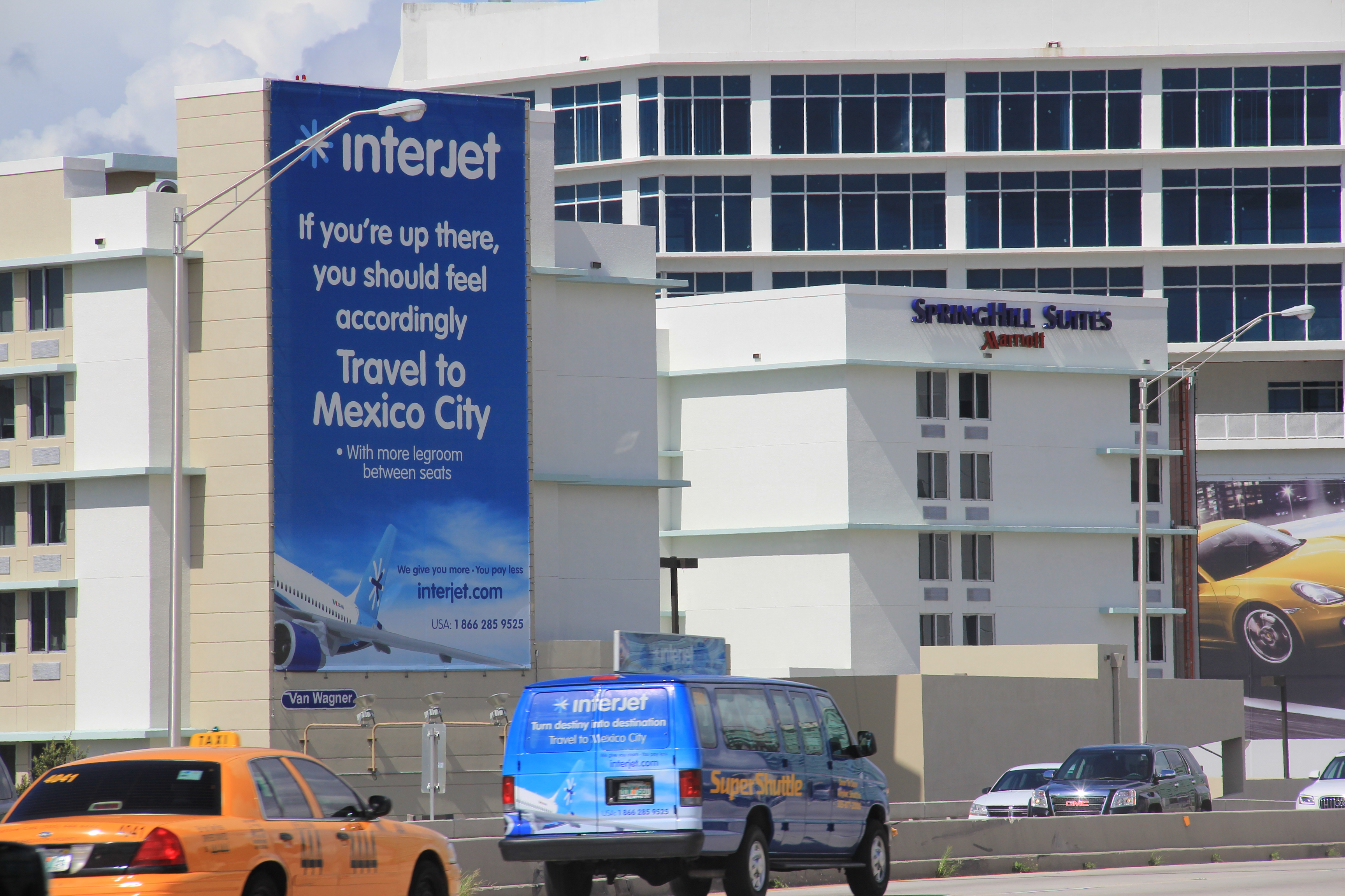 Interjet Airlines Ad on a SuperShuttle Airport Shuttle