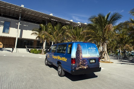 SuperShuttle Van with an Aria on the Bay Back Wrap