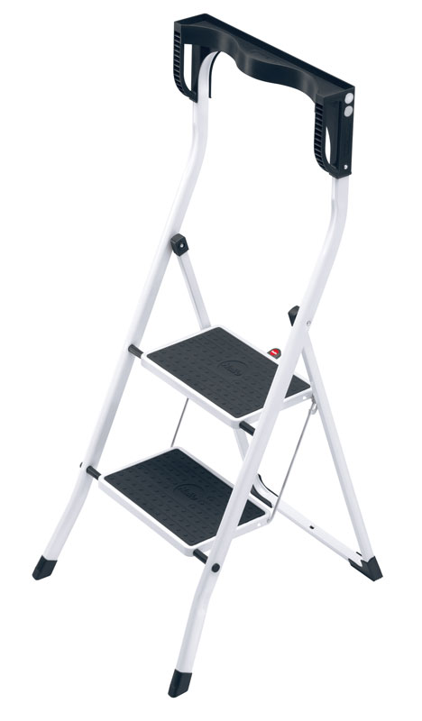 Hailo Safety Plus - Ergonomic steel folding steps with high safety rail and practical tray.
