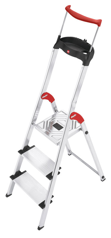 More Steps, More Safety. Aluminium safety ladder with multifunction tray ensures safety at an XXL size: 130 mm deep steps.