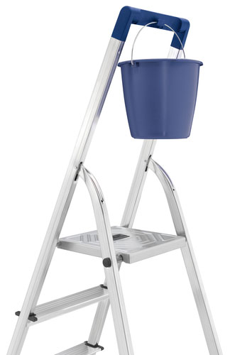 Blue top quality plastic safety rail with integrated bucket hook
