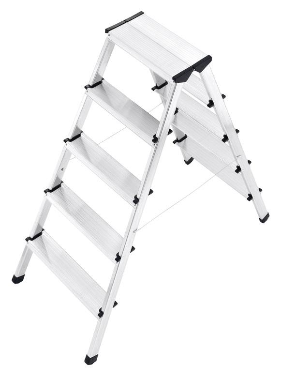 Hailo L90 - Aluminium safety double-sided ladder for climbing on either side.