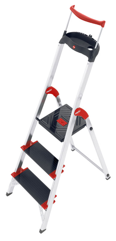 Hailo ChampionsLine XXR 225 - Aluminium safety ladder with multifunction tray and rail ensures safety at an XXL size: 130 mm deep steps. Maximum load capacity 225 kg.