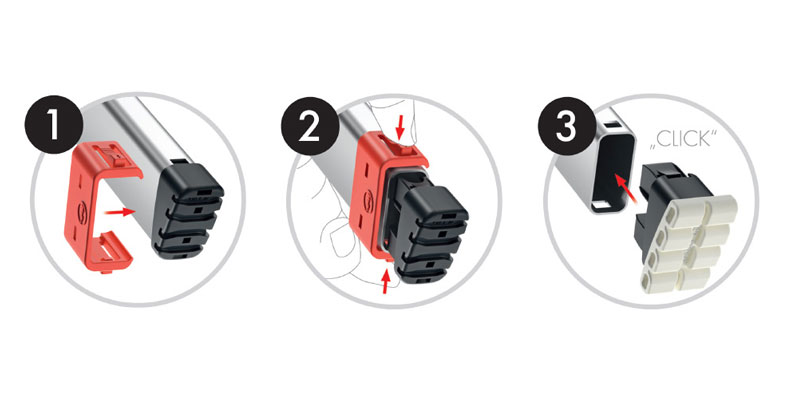 Quick change in just 3 steps. 1 - Attach the red clip to the end of the rail. 2 - Press the clip in and remove the foot. 3 - Click the new foot into place