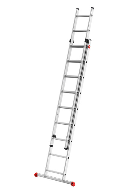 ProfiStep Duo (2-Section) - 2-section aluminium extending ladder. Height can be adjusted rung by rung.
