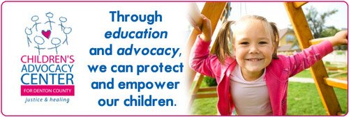 Ad for Children's Advocacy Center for Denton County - Loans for Leaders