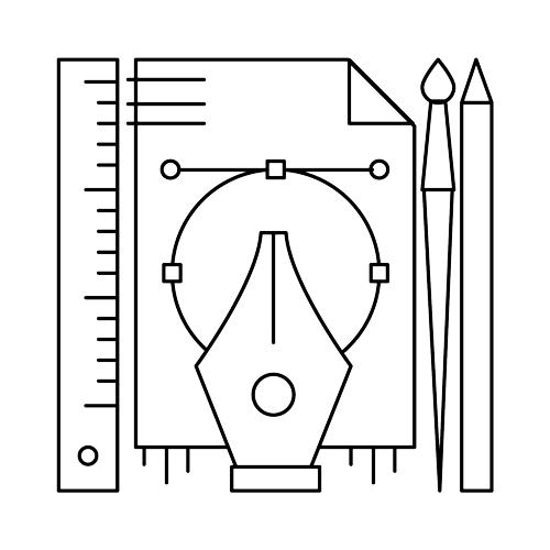 Branding Identity Icon:  icon of design tools