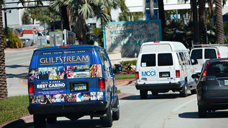 Gulfstream Park & Casino Shuttle Back Wrap photographed at Miami Beach