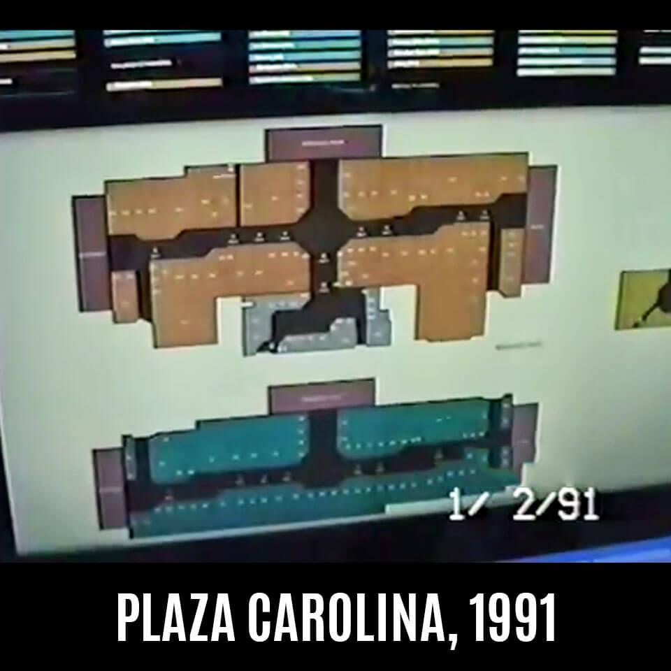 Foto vieja del mapa de tiendas (croquis) de Plaza Carolina en el 1991, Carolina, Puerto Rico.