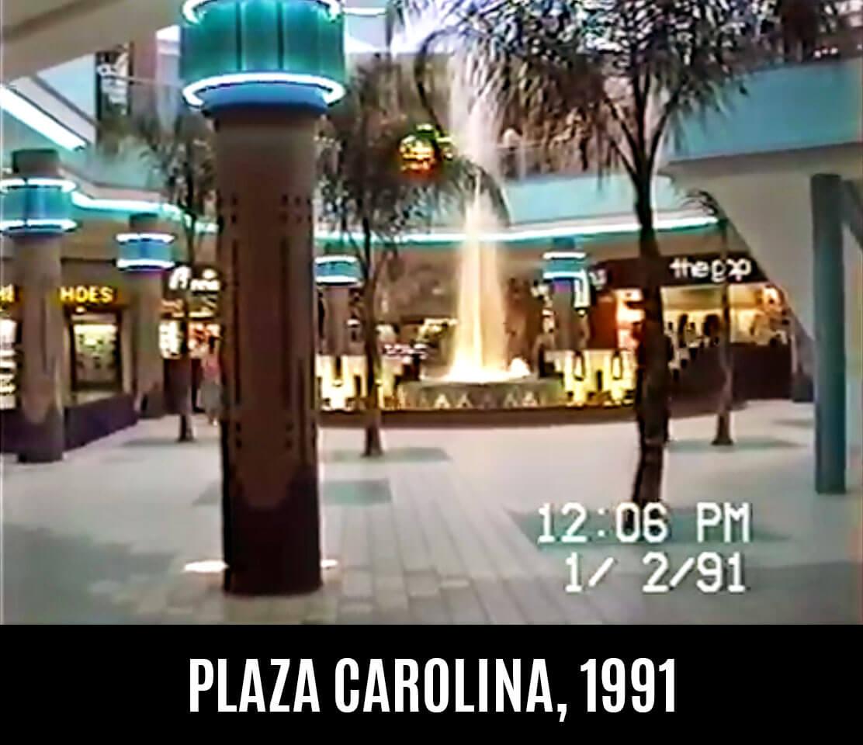 Foto vieja de la fuente de Plaza Carolina en el 1991, Carolina, Puerto Rico.