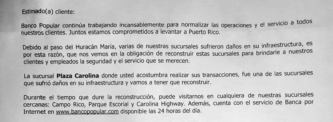Aviso del Banco Popular de Plaza Carolina tras el paso del Huracán María en septiembre del 2017.