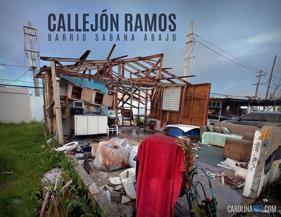 Casa destruida por el Huracán María en el Callejón Ramos del Barrio Sabana Abajo, Carolina, PR.