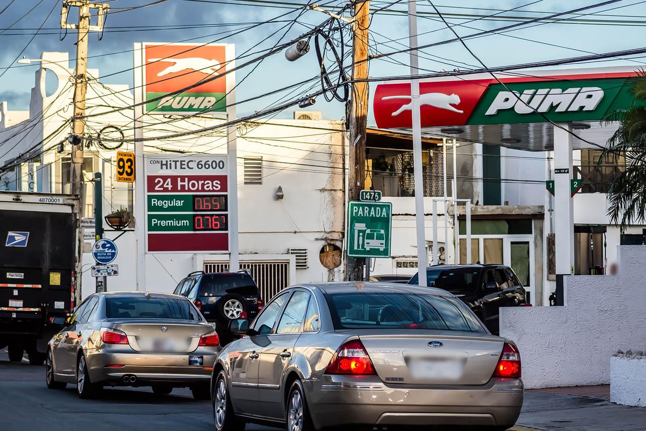 Precio de gasolina en el 2019 en Gasolinera Puma, de Condado, San Juan, Puerto Rico.