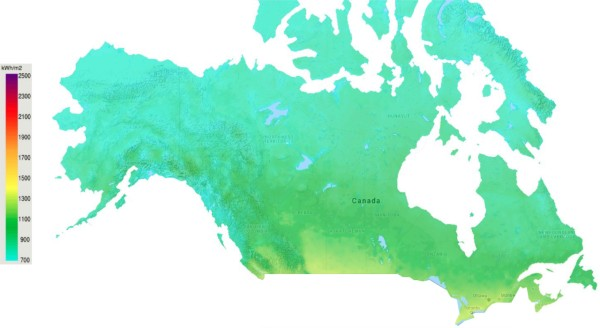 Solar Power Resource Map Canada