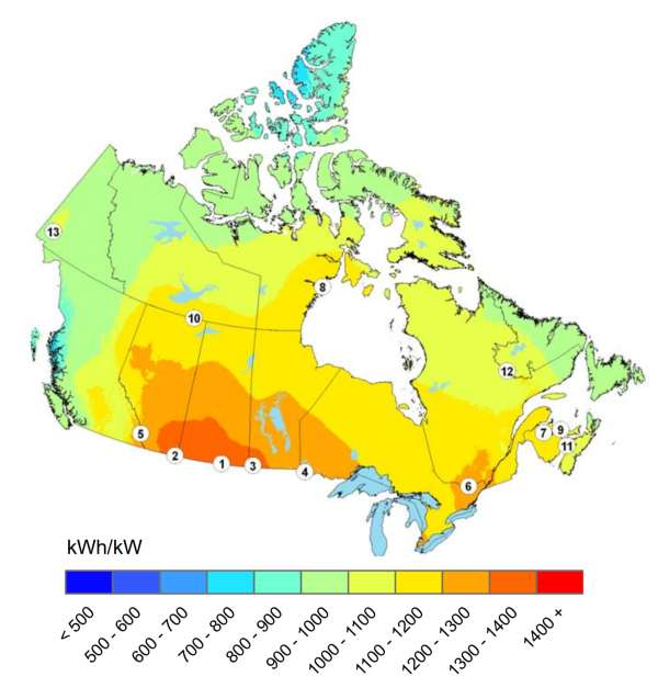 Solar power resource potential map of canada