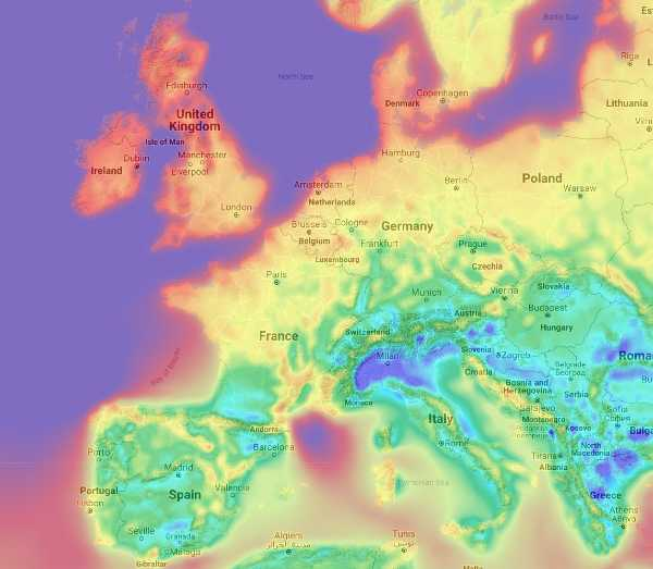 Wind Energy Potential Map Europe