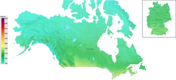 Solar Power Potential Map of Canada
