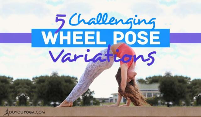 Woman practicing a variation of wheel pose (urdhva dhanurasana)