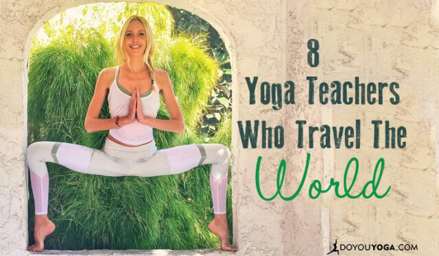 Yoga teacher practicing goddess pose in an exotic doorway while traveling