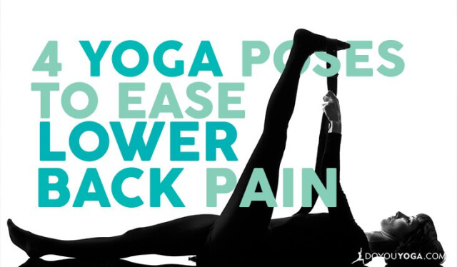 Silhouetted woman practicing reclining hand-to-big-toe pose (supta padangusthasana) to ease lower back pain