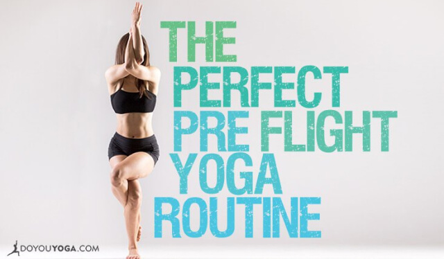 Woman practicing eagle pose (garudasana) before a flight
