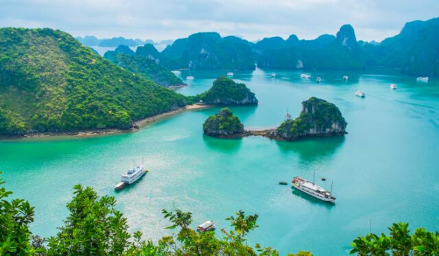 Halong Bay, Vietnam in Southeast Asia from an angle above
