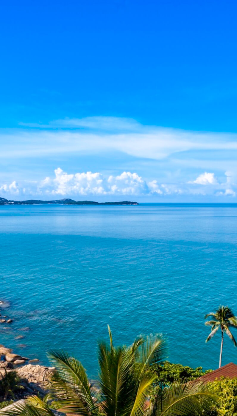 Beautiful ocean panorama view with palm trees at Vikasa Retreat Center in Koh Samui, Thailand