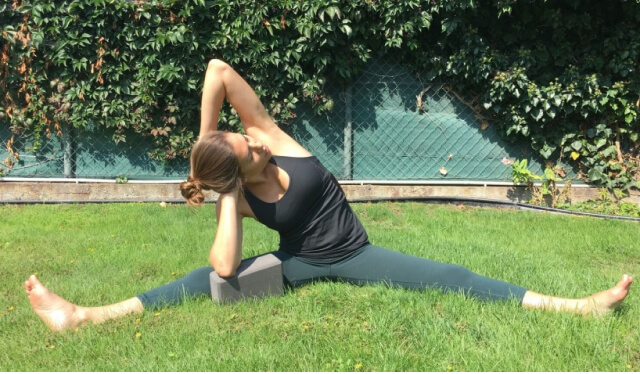 Woman practicing yoga lunge