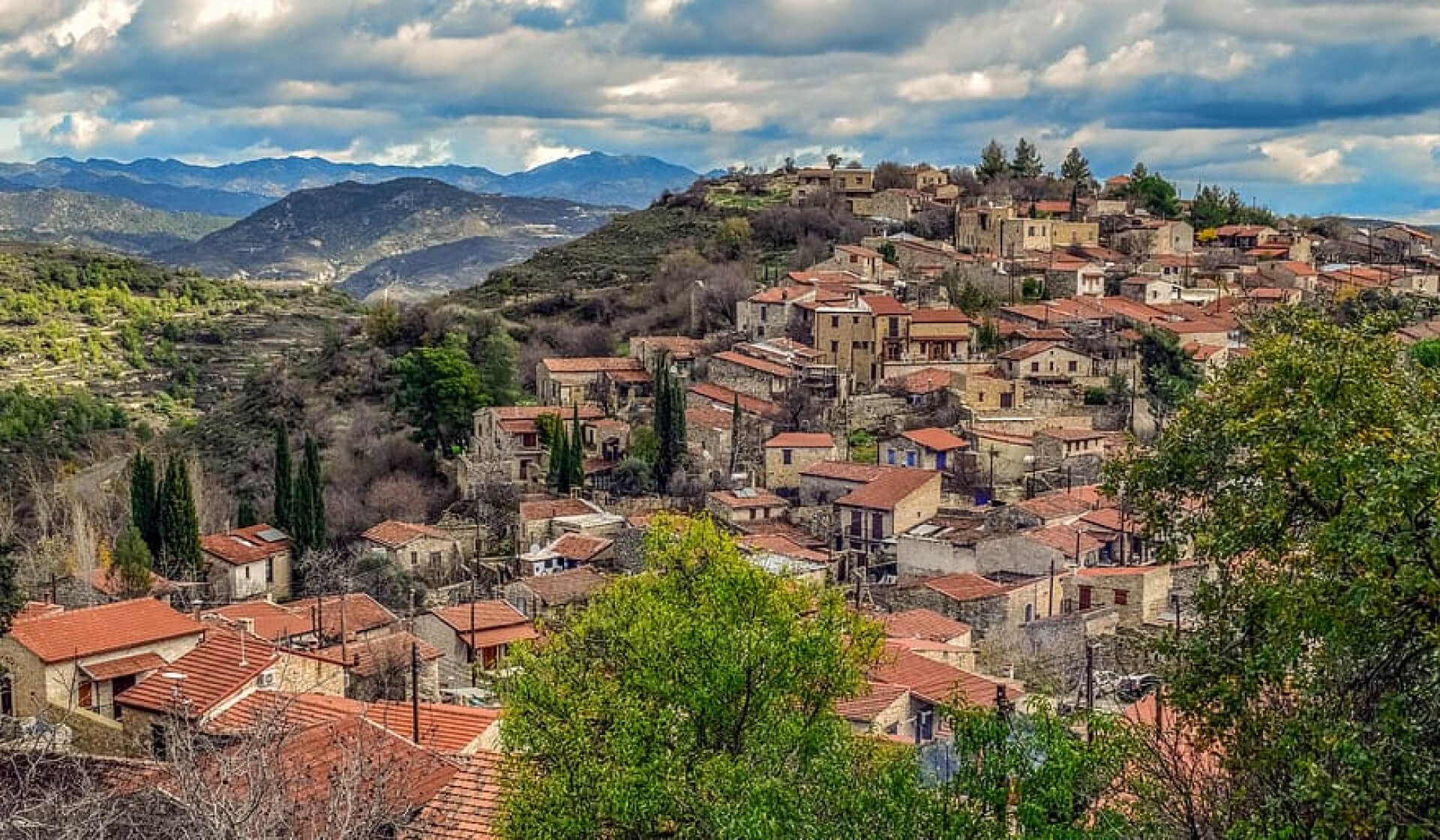 Panoramic view of an old village town built into the Troodos Mountains in Cyprus