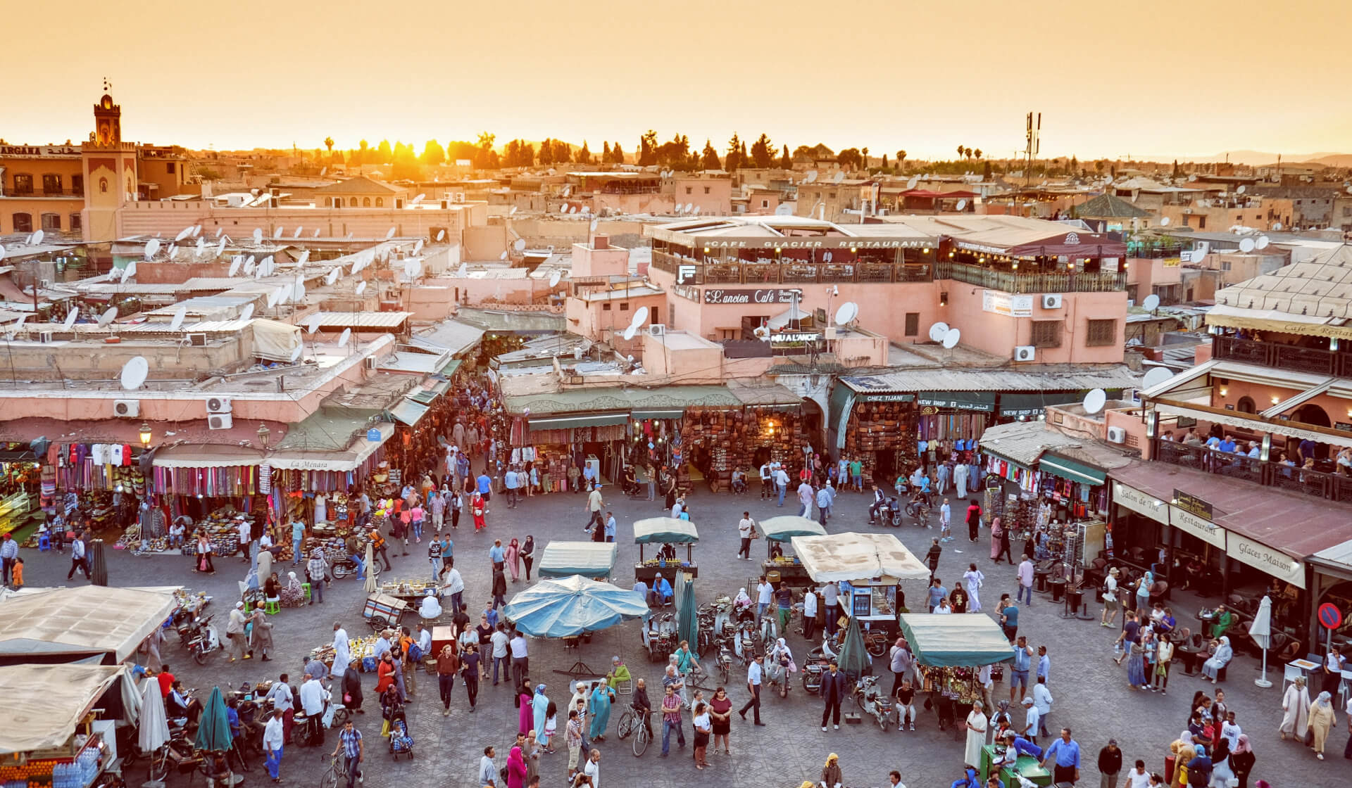 Aerial view of a crowded and chaotic souk of Marrakech, Morocco