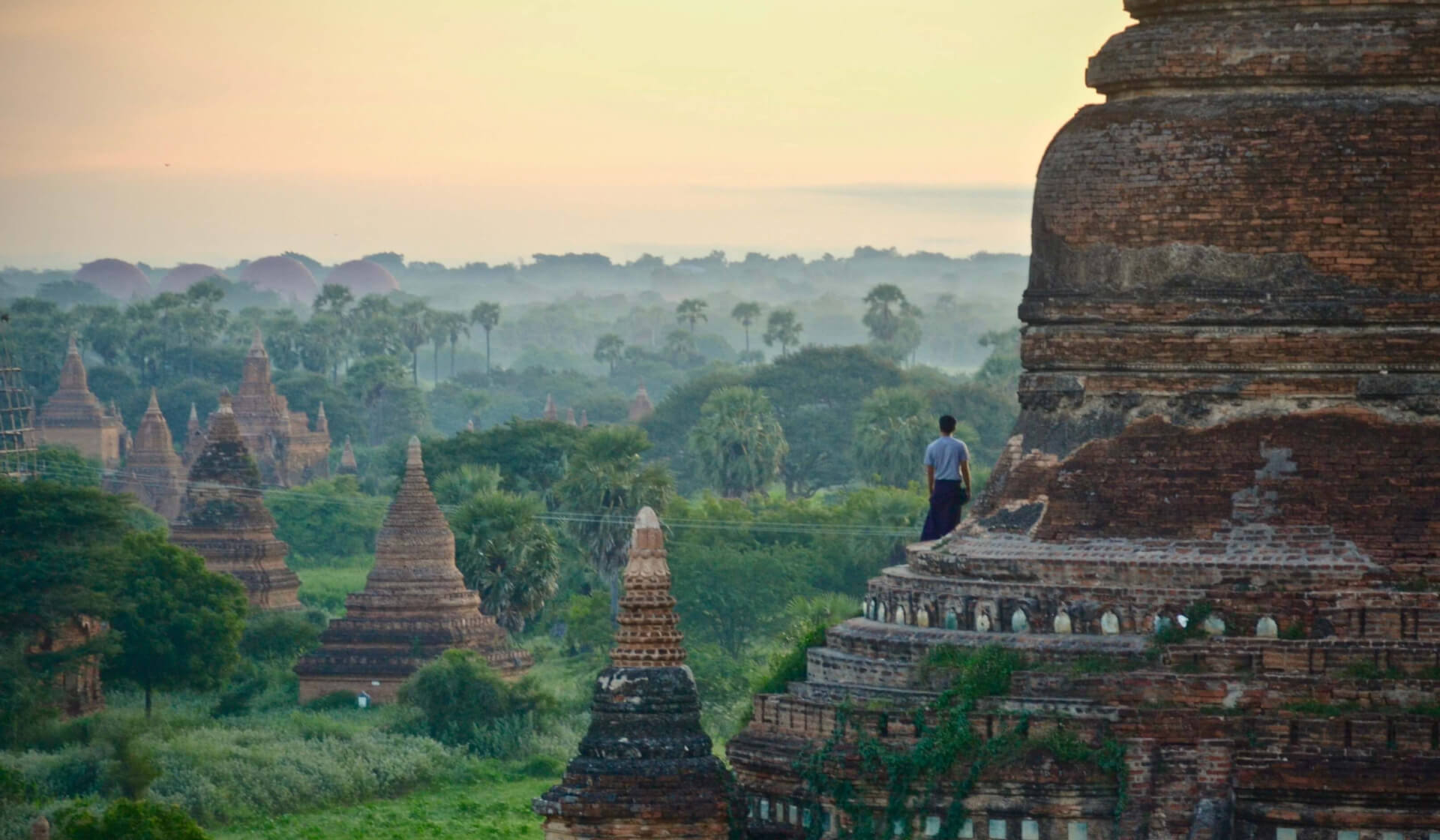 Man in a sarong standing on the top of a temple in Bagan, Myanmar overlooking palm trees and more temples