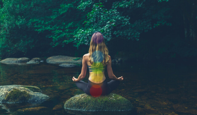 Woman seen from behind sitting cross-legged on a moss-covered rock inside a stream with colorful circles superimposed over her illuminating her chakras and nadis