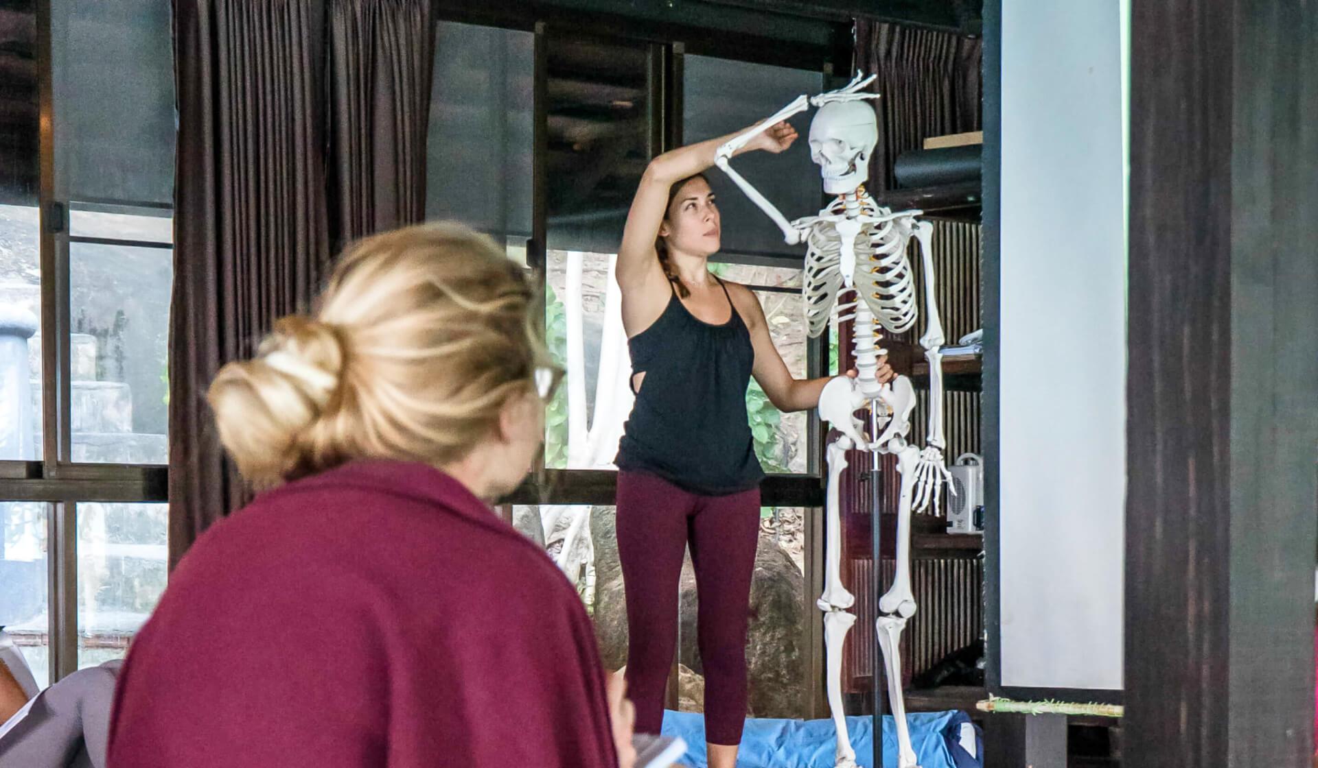 Yoga teacher trainer teaching anatomy while moving an anatomy skeleton as students take notes