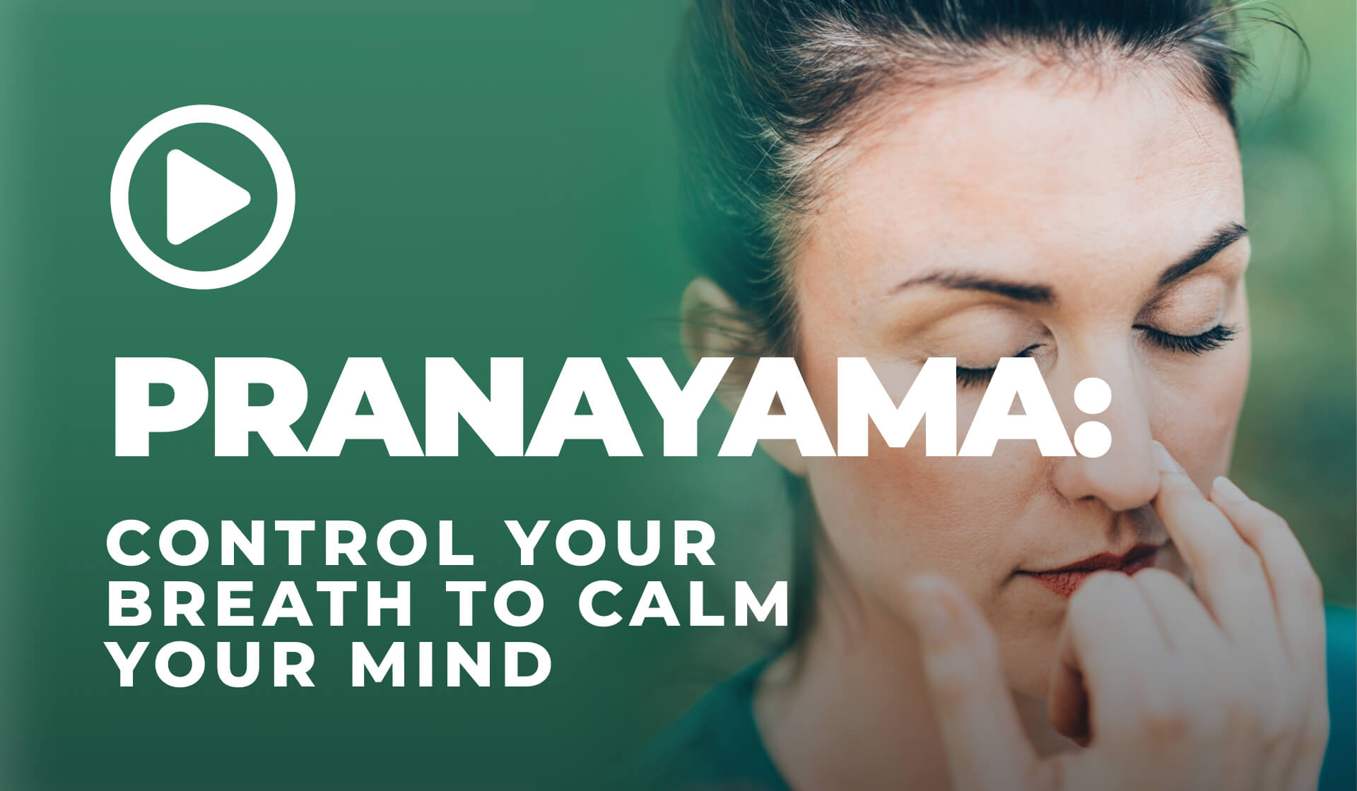 Woman with her eyes closed holding her fingers over her left nostril while practicing pranayama in front of a green background