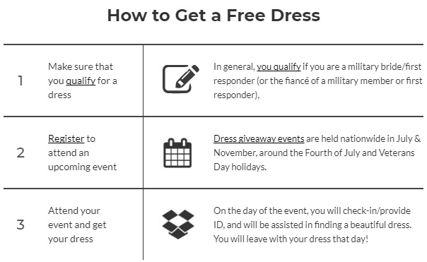 registering for a free wedding dress miltary first responders