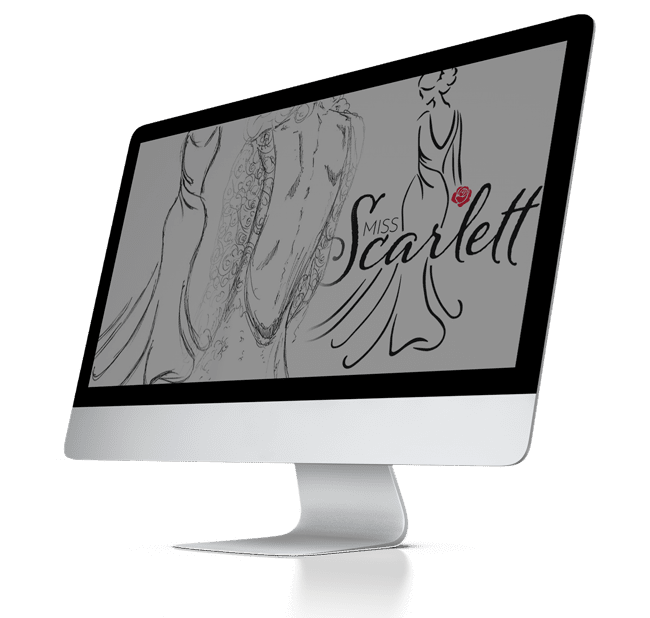 imac with the miss scarlett logo on the screen