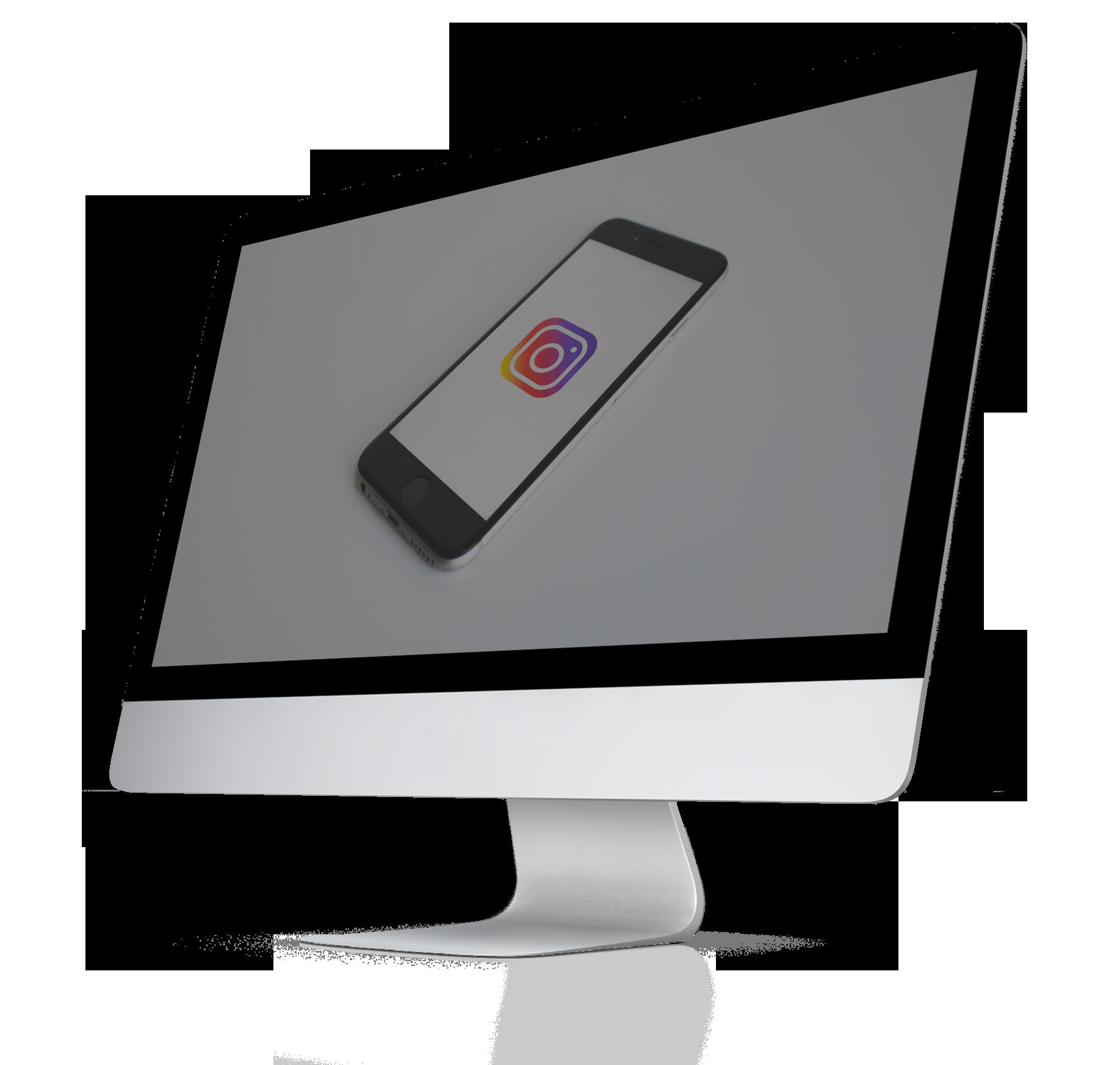 instagram logo on imac screen