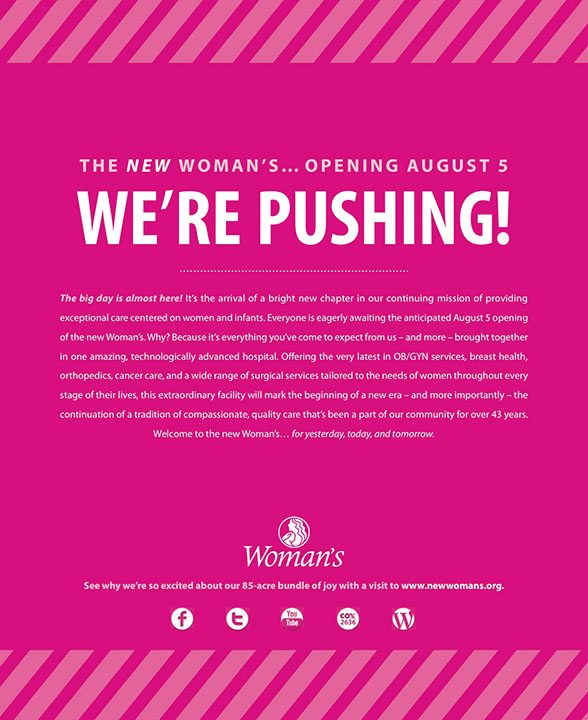 Woman's Hospital   Pink Print: We're Pushing