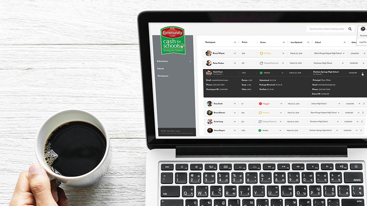 Community Coffee | Cash for Schools Dashboard