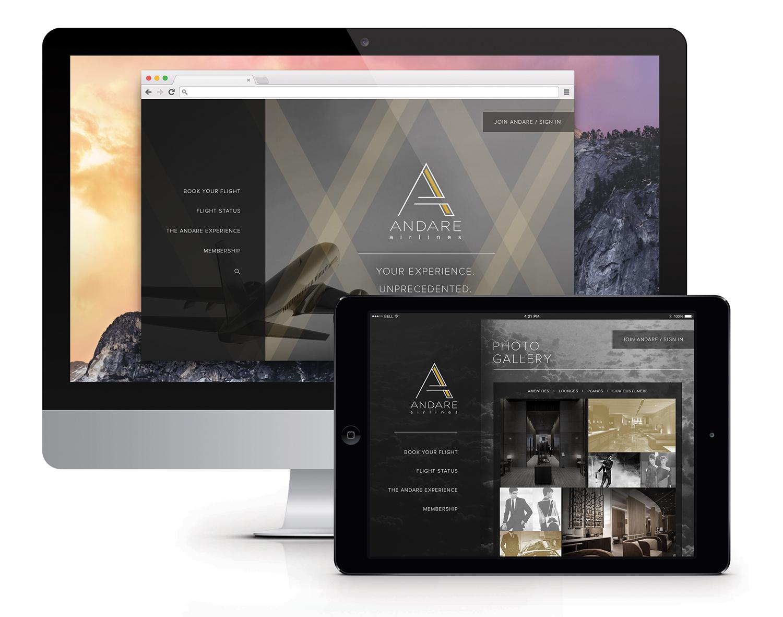 Andare branding responsive web design
