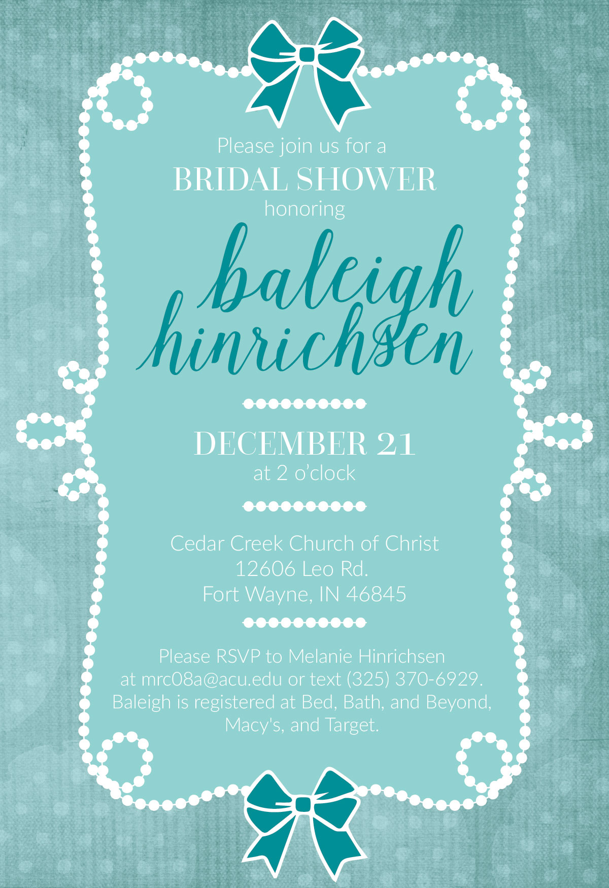 Events and Invitations Bridal Shower