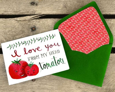 Greeting Card I love you from my head tomatoes